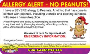 Peanut Allergy Card