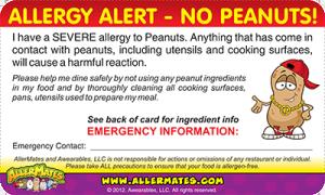 Peanut Allergy Card