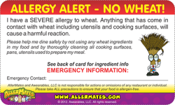 Wheat Allergy Card