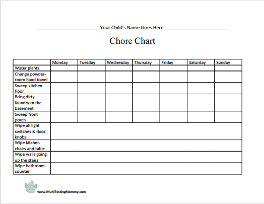 graphic regarding Chore Chart Free Printable titled customizable chore chart