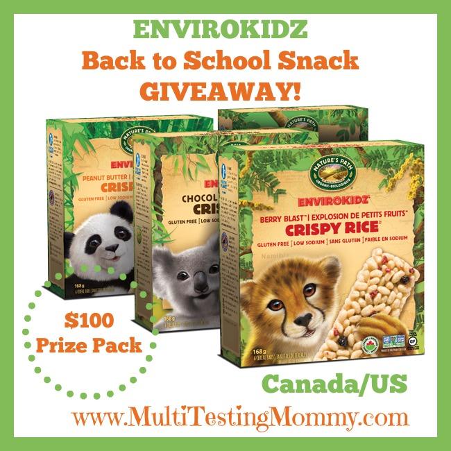 EnviroKidz Back to School Snacks Giveaway - prize graphic